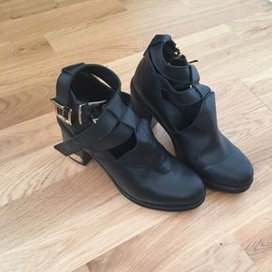 TopShop black leather booties with gold buckles